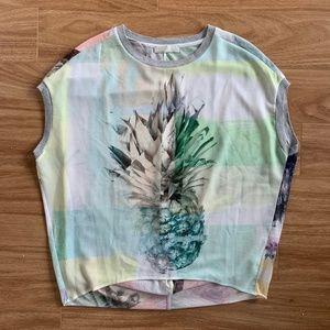 Zara Pineapple Palm Tree Cap Sleeve Top